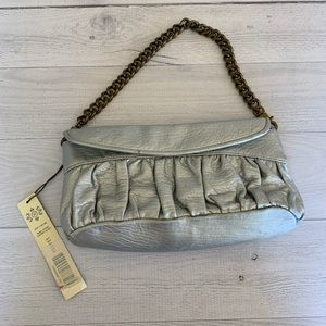 Kate Landry Silver Evening Bag Clutch With Chain